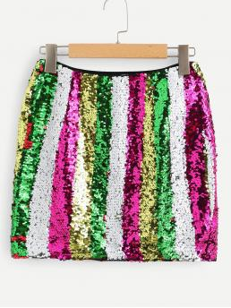 Shopping Multicolor Natural Waist Contrast Sequin a Line Bodycon