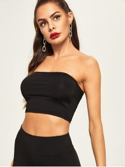 Long Sleeve Cami Rib-knit Velvet Solid Bandeau Top Beautiful