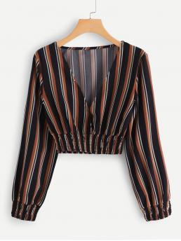 Long Sleeve Top Striped Multicolor V Neck Top Ladies