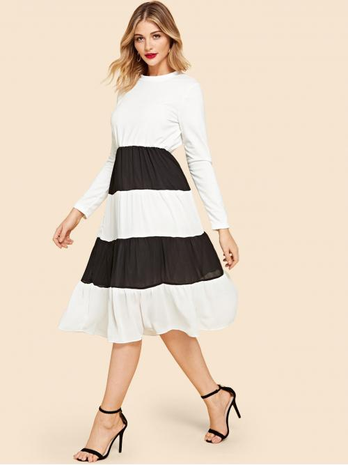 Elegant Colorblock Flounce Round Neck Long Sleeve High Waist Black and White Long Length Cut And Sew Dress