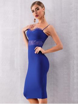 Sexy Cami Plain Spaghetti Strap Sleeveless Natural Blue Midi Length Adyce Lace Insert Fitted Cami Dress
