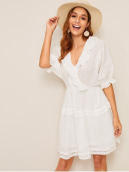 Boho Plain Loose V neck Half Sleeve Batwing Sleeve Natural White Short Length Ruffle Trim Schiffy Wrap Dress with Lining