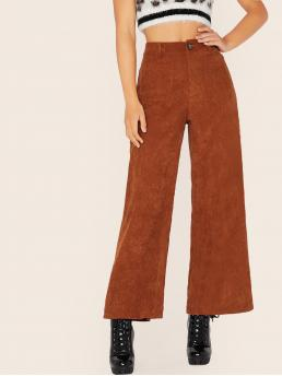 Casual Plain Wide Leg Regular Button Fly and Zipper Fly High Waist Brown Long Length Pocket Patched Wide Leg Cord Pants