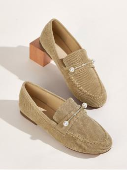 Comfort Round Toe Plain Khaki Faux Pearl Decor Corduroy Loafers