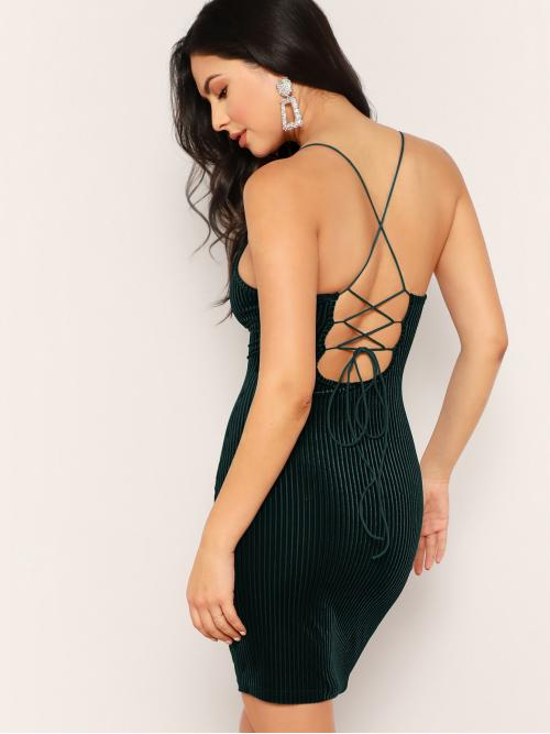Glamorous and Sexy Bodycon Plain Pencil Slim Fit Spaghetti Strap Sleeveless Natural Green Short Length Lace Up Back Ribbed Velvet Bodycon Dress