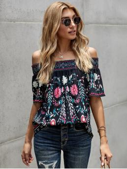Shopping Short Sleeve Top Frill Polyester Off-shoulder Blouse