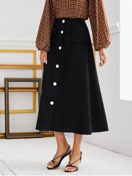 Black High Waist Button Front a Line Solid Skirt Clearance