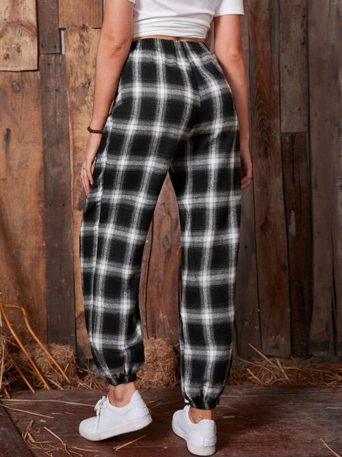 Clearance White High Waist Drawstring Plaid Emery Rose Tie Front Joggers