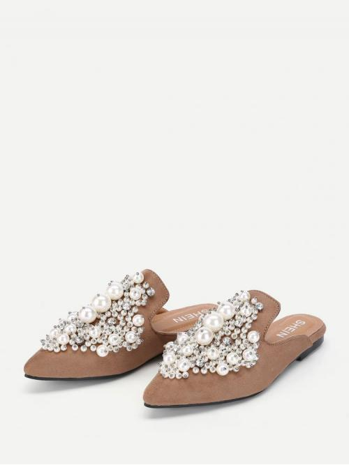 Corduroy Khaki Mules Embroidery Faux Pearl Decorated Flat Cheap