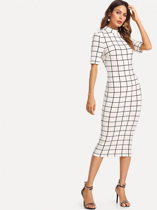 Trending now White Plaid Wrap Stand Collar Mock Neck Grid Dress