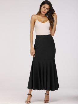 Elegant Mermaid Plain High Waist Black Long/Full Length Ruffle Hem Skirt