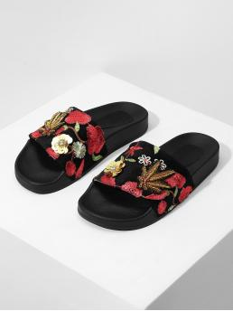 Open Toe Floral Red Embroidery Peep Toe Slippers