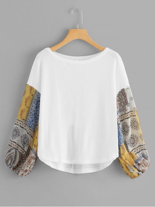 Ladies Long Sleeve Top Contrast Sequin Polyester Abstract Print Tee