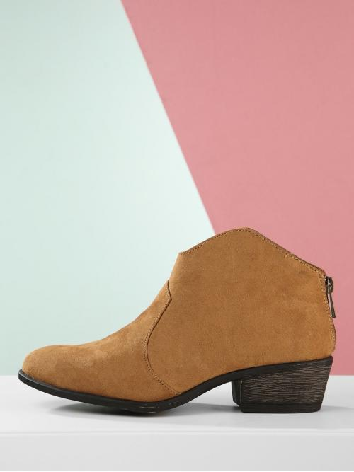 Polyester Camel Stretch Boots Embroidery Stacked Heel Almond Toe Western Style Ankle Booties Ladies