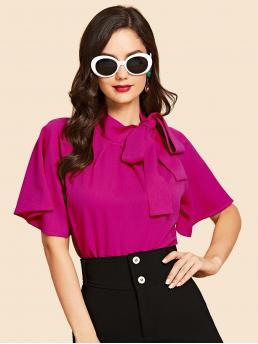 Elegant Plain Top Regular Fit Stand Collar Half Sleeve Flounce Sleeve Pullovers Pink Regular Length Neon Pink Flutter Sleeve Tie Neck Blouse