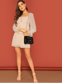 Beige Plain Frill Square Neck Tie Detail Puff Sleeve Peasant Dress Trending now