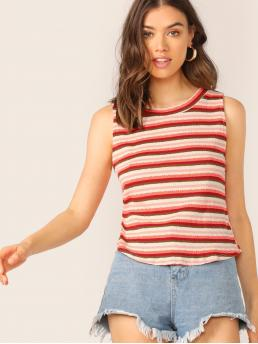 Casual Striped Regular Fit Round Neck Sleeveless Pullovers Multicolor Regular Length Scoop Neck Rib Knit Stripe Tank Top