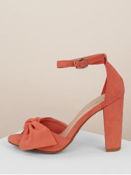 Glamorous Ankle Strap Orange High Heel Chunky Cinched Front Open Toe Buckled Ankle Block Heels
