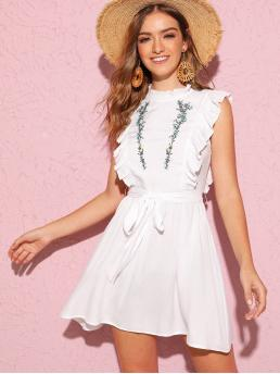 Cute and Boho A Line Flared Regular Fit Stand Collar Cap Sleeve Butterfly Sleeve High Waist White Short Length Ruffle Trim Embroidery Belted Dress with Belt