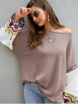 Casual Colorblock and Graphic Pullovers Oversized Round Neck Long Sleeve Pullovers Nude Regular Length Contrast Bishop Sleeve Waffle Knit Sweater