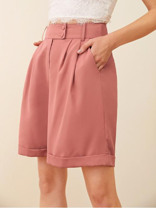 Women's Dusty Pink High Waist Pocket Bermuda Buttoned Waist Fold Pleated Cuffed Shorts