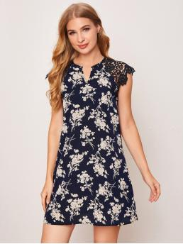 Womens Navy Blue Floral Contrast Lace Notched Neck Guipure Lace Shoulder Dress