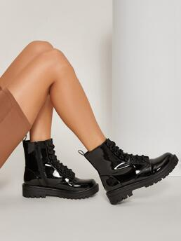 Trending now Black Combat Boots Mid Heel Chunky Faux Patent Leather Lace up Combat Boots