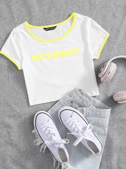 Beautiful Cap Sleeve Contrast Binding Polyester Letter Graphic Ringer Tee