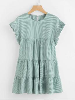 Green Striped Button Round Neck Vertical Tiered Peasant Frill Dress Fashion