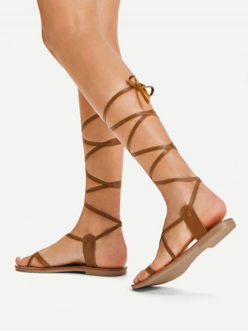 Womens Corduroy Brown Gladiator Sandals Studded Toe Ring Lace up Gladiator Sandals