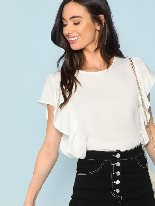 Clearance Sleeveless Top Ruffle Satin Layered Trim Solid Top