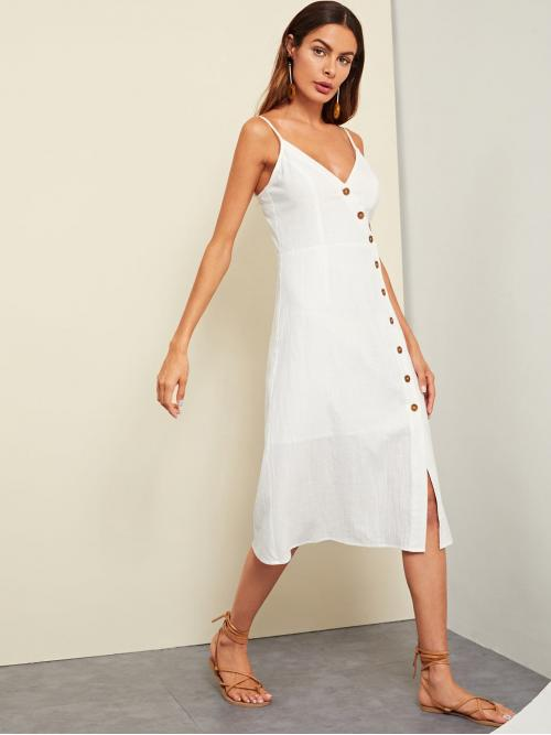 Beautiful White Plain Button Spaghetti Strap Buttoned Wrap Front Dress