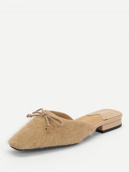 Corduroy Apricot Mules Bow Decorated Fuzzy Flat Discount