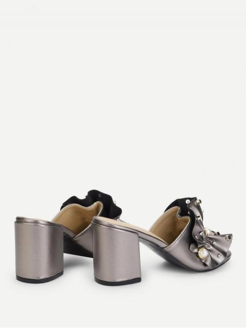 Clearance Corduroy Grey Strappy Sandals Studded Ruffle Design Faux Pearl Decorated Heeled Mules