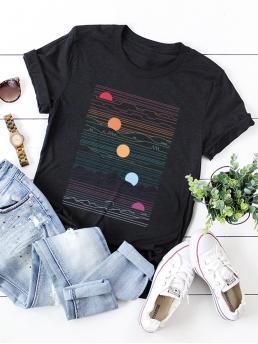 Casual Cartoon Regular Fit Round Neck Short Sleeve Pullovers Black Regular Length Sunrise Print Tee