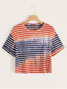 Casual Striped and Tie Dye Regular Fit Round Neck Short Sleeve Pullovers Multicolor Regular Length Tie Dye Striped Tee