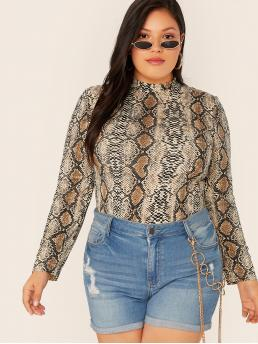 Casual Snakeskin Print Slim Fit Stand Collar Long Sleeve Regular Sleeve Multicolor Regular Length Plus Snakeskin Print Mock-neck Top