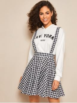 Casual Pinafore Gingham Mid Waist Black and White Above Knee/Short Length Gingham Print Flare Hem Pinafore Skirt