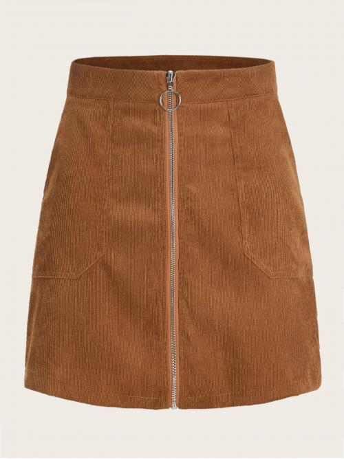 Casual Straight Plain Mid Waist Camel Mini Length O-ring Zip Front Corduroy Straight Skirt