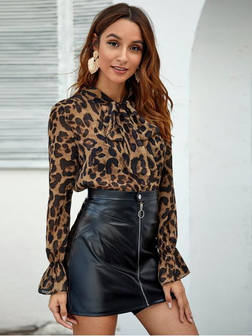 Elegant Leopard and All Over Print Top Regular Fit Stand Collar Long Sleeve Pullovers Multicolor Regular Length Tie Neck Flounce Sleeve Leopard Top