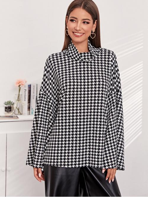 Elegant Houndstooth Oversized Funnel Neck Long Sleeve Flounce Sleeve Pullovers Black and White Regular Length Draped Neck Drop Shoulder Houndstooth Oversize Tee