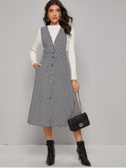 Preppy Pinafore Houndstooth Flared Regular Fit Deep V Neck Sleeveless High Waist Black and White Long Length Button Front Raw Hem Houndstooth Tweed Pinafore Dress