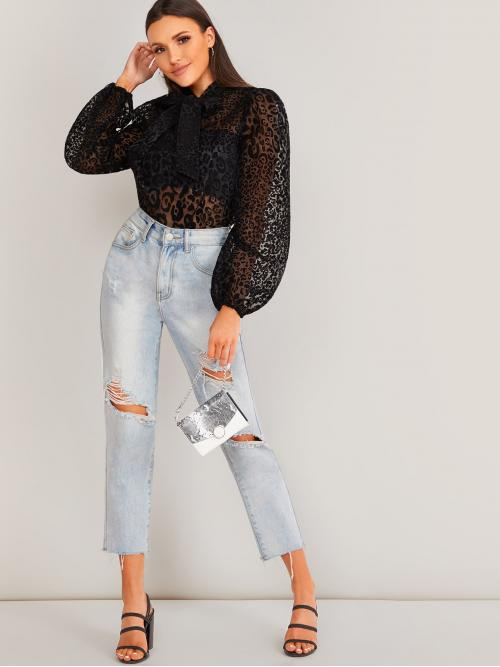 Long Sleeve Top Contrast Lace Organza Sheer Top Without Bandeau Trending now