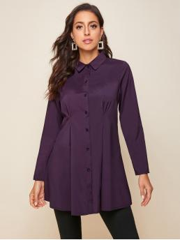 Modest Tunic Plain Regular Fit Collar Long Sleeve Regular Sleeve Placket Purple Regular Length Button Front Ruched Detail Blouse