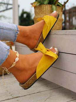 Yellow Footbedsandals Flat Cotton Blends Bow Decor Footbed Sandals Trending now