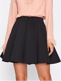 Clearance Black Natural Waist Pleated Flared Solid Skater