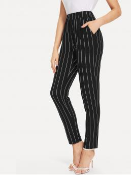 Casual Striped Tapered/Carrot Regular Elastic Waist Mid Waist Black and White Long Length Elastic Waist Pinstripe Cigarette Pants