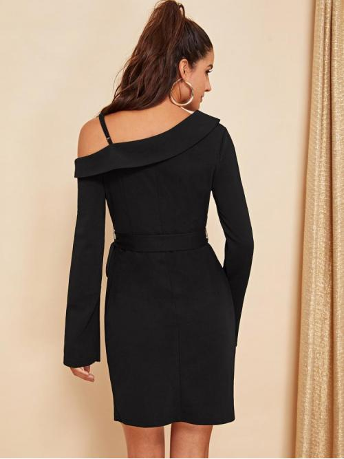 Clearance Black Plain Belted Asymmetrical Neck Foldover Asymmetric Shoulder Surplice Dress