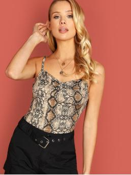 Casual Cami Snakeskin Print Slim Fit Spaghetti Strap Multicolor Regular Length Snake Skin Form Fitted Cami Top