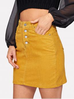Elegant Straight Plain Mid Waist Yellow Above Knee/Short Length Button Front Corduroy Skirt